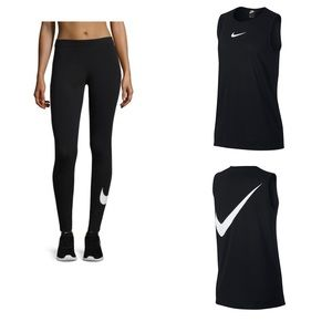 Nike Women's Running Black Tank and Tights in Sz.L